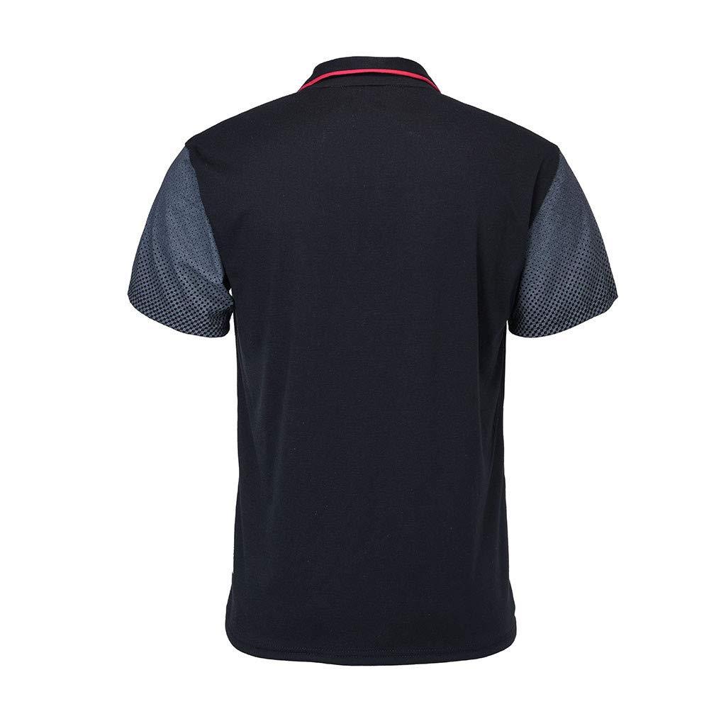 Beauty/&YOP Mens Gradient Stripe Splicing Pattern Casual Fashion Lapel Short Sleeve Shirt