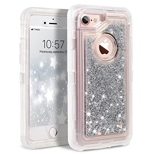 Bling Case Hard Plastic (iPhone 8 Case, iPhone 7 Case, iPhone 6s Case, Dexnor Glitter 3D Bling Sparkle Flowing Liquid Case for Girls Transparent 3 in 1 Shockproof TPU Silicone + PC Case Cover for iPhone 8/7/6s/6 - Silver)
