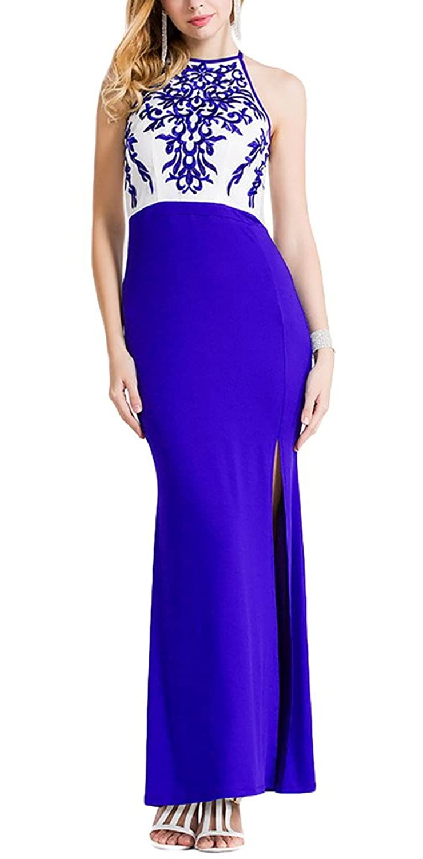 Aivtalk Maxi Ohne Ärmel Hohe Taille Abendmode Cocktailkleid mit Trägern - Blauweißes Porzellan Gedruckt Blau