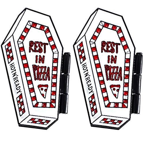 (Charmart Rest in Pizza Lapel Pins 2 Piece Set Skeleton Coffin Flip Cover Punk Enamel Brooch Pin Gothic Badge Pizza Lovers)