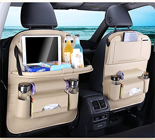 Car Multifunction Seat Back Organizer Car fold Dining rack seat storage bag Hanging bags Pockets for Kids Travel Automoblie In Car Accessoires (Beige)