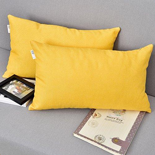 (NATUS WEAVER Decor Lined Linen Throw Cushion Pillowcase Cover for Sofa, 12