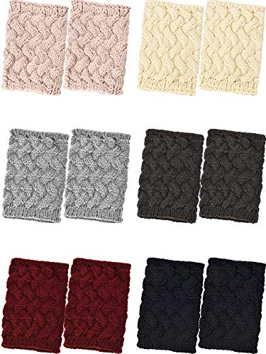Pangda 6 Pairs Winter Short Knit Boot Cuffs Crochet Boots Socks Winter Leg Warmers for Women Girls Costume Accessory, 6 Colors