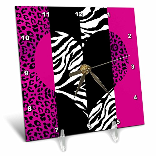 3dRose dc_35437_1 Pink Black and White Animal Print-Leopard and Zebra Heart-Desk Clock, 6 by 6-Inch by 3dRose