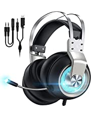 $29 » Gaming Headset for PS5 Xbox One PC Switch Mac PS4 Headset with Noise Cancelling Mic, 7.1 Suround Sound, Over Ear Gaming Headphones with 3.5mm Jack, White LED Light, Silver
