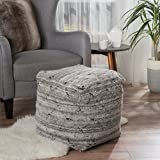 Amador Grey Fabric Pouf