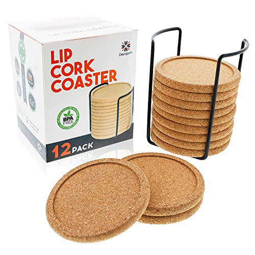 Cork Coasters with Lip for Drinks Absorbent | 12 Set 4 Inch Thick Rustic Saucer with Metal Holder Eco-Friendly, Heat & Water Resistant | Best Reusable Natural Round Coasters for Bar Glass Cup Table -