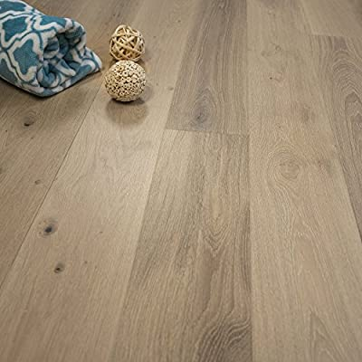 "Wide Plank 7 1/2"" x 1/2"" European French Oak (Antique White) Prefinished Engineered Wood Flooring Sample at Discount Prices by Hurst Hardwoods"