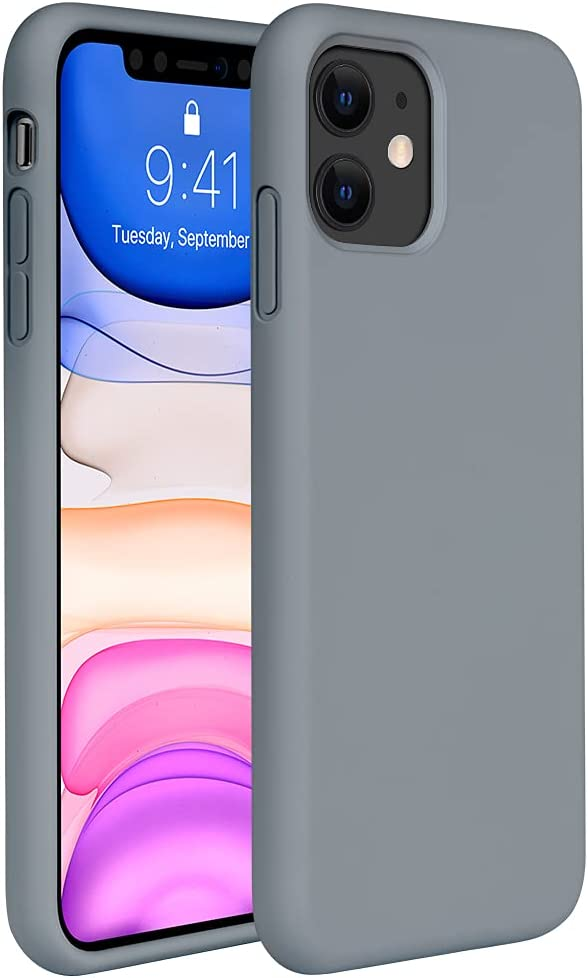 Miracase Liquid Silicone Case Compatible with iPhone 11 6.1 inch(2019), Gel Rubber Full Body Protection Cover Case Drop Protection Case (Dark Gray)