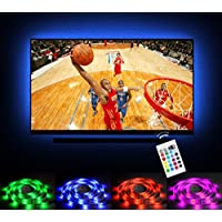 Emotionlite Bias Lighting LED TV Backlight Strip 13.1ft for 60-70 TV, 16 Colors Changed RGB Light Strip, USB Powered Backlight Light for Flat Screen HDTV LCD with 24keys Remote Controller