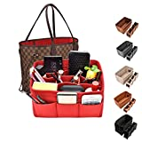 Kumako Bag Organizer,Felt Purse Insert Handbag Organizer For LV neverful,Speedy&Tote Bag (M, Red)