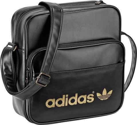 61a40c3b1f20d Galleon - Adidas Originals AC SIR Messenger Shoulder Bag BLACK-METALGOLD  G84855