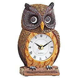 Woodland Owl Clock With Moving Eyes, Brown