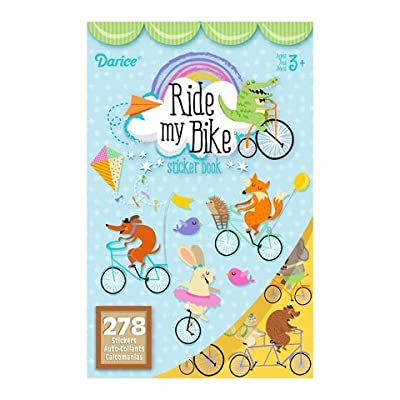 2 BOOKS of - RIDE My BIKE - Mini STICKERS (556 total stickers) Adorable ANIMALS on BICYCLES - Kid's ACTIVITY Craft Party FAVORS -Scrapbooking PARTY PROJECT