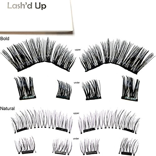 [2-Pack Natural & Bold] Lash'd Up Magnetic Eyelashes Full Eyes Premium Silk [No Glue] Child Cancer Partner Better Than 3 Magnets Reusable False Lashes | undress me & i woke up this way by Lash'd Up