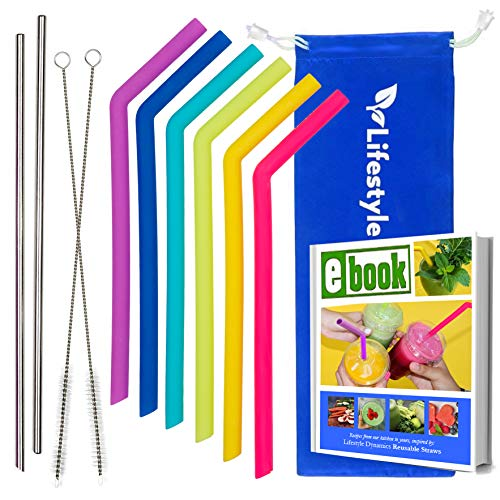 Reusable Straws Silicone & Stainless Steel Straws – 6 Silicone Straws + 2 Metal Straws for Drinks – Top-Quality Dishwasher Safe, BPA Free Tumbler Straws, Smoothie Straws, Special Edition