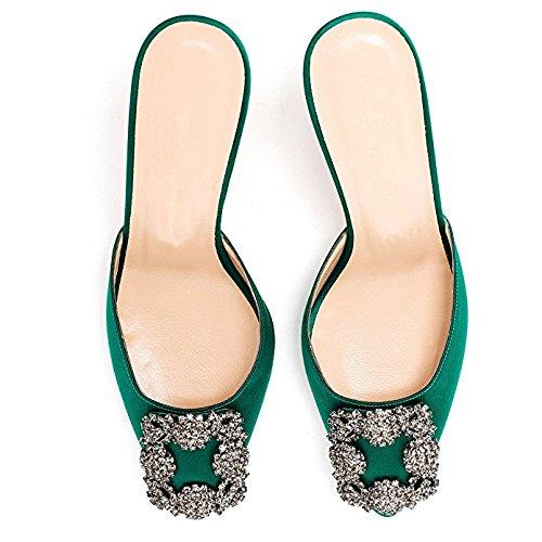 Satin Travail Talon Ballerines Femmes T de Classique en Bas de Talon Sandales Chris Chaton Chaussures 0FT6qw