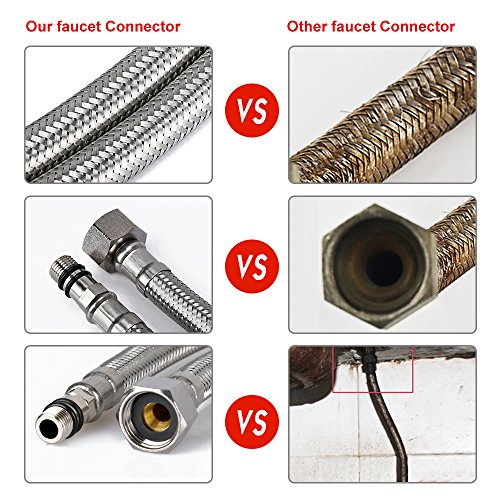 HOMEIDEAS 40-inch Faucet Connector 3/8-Inch Female Compression Thread x M10 Male Braided Stainless Steel Supply Hose Connector Replacement Pack of 2(1 Pair) by HOMEIDEAS (Image #6)