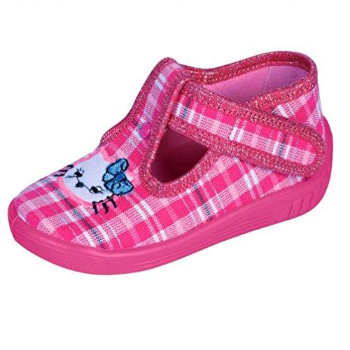 Kinderhausschuhe Kinder Hausschuhe für Mädchen mit Klettverschluss Kindergartenschuhe Katze rosa caro