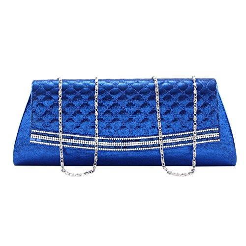 Damara Solapa De Diseño Piel Cuadrícula Mujer Embrague De Cartera De Hombro Fiesta,Azul Dorado