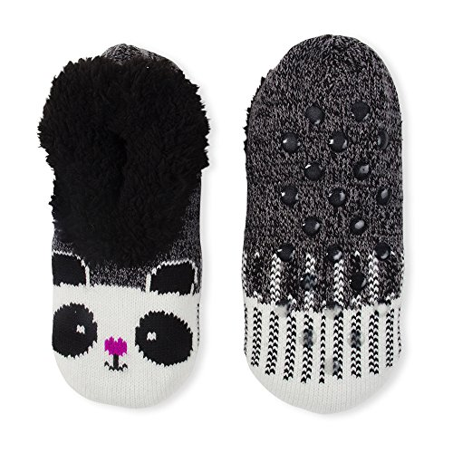 Fuzzy Babba Women's Slipper Socks Panda White Black