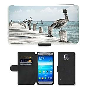 CARD POCKET BOOK CASE PU LEATHER CASE // M00421883 Pájaro acuático Pelícano // Samsung Galaxy S5 S V SV i9600 (Not Fits S5 ACTIVE)
