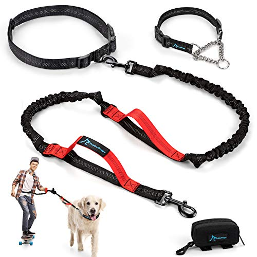 PuppyDoggy Hands Free Dog Leash for Large Medium Dogs Dual-Handle Bungee Reflective Stitching Leash with Waist Belt…