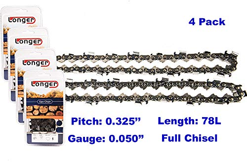 "4 Pack Chainsaw Chain .325/"" 0.050 Semi Chisel 66 DL for 16/"" Husqvarna 440 440E"