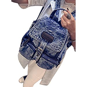 D-Sun Denim Canvas Shoulder Bag Student Fashion Casual Backpack Jean Bag