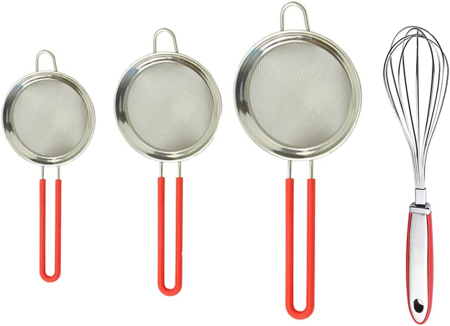 QELEG Set of 3 Tea Strainer Flour Sifter Fine Mesh Stainless Steel Strainers Food Strainer and Whisk Kitchen, Tea, Rice & Juice Use Tools