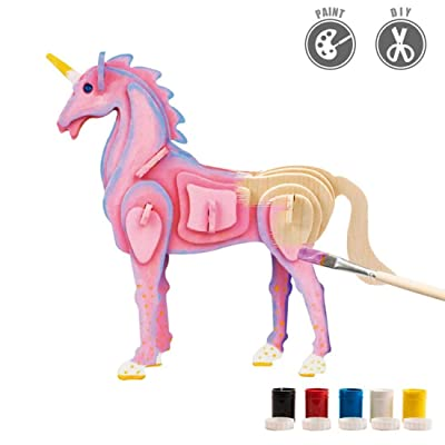 HMANE 3D DIY Assemble Painting Jigsaw Puzzle Wooden Animal Model Crafts Toys Kits with 5 Color Pigments - (Unicorn): Toys & Games