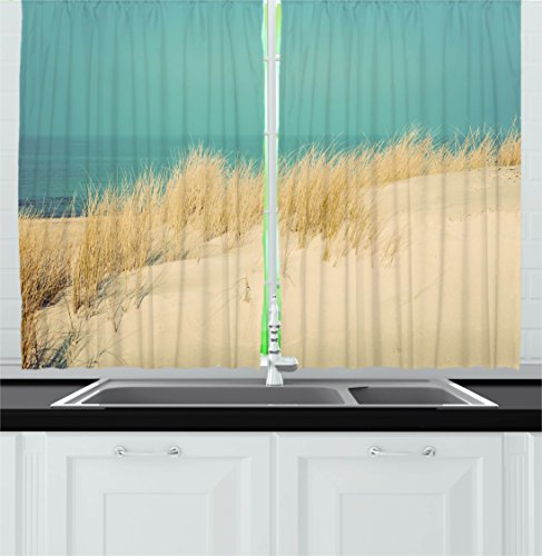 Modern Decor Kitchen Curtains by Ambesonne, Calm Sunny Beach Scenery Sand Dunes Morning in Baltic Sea Tranquil Picture, Window Drapes 2 Panels Set for Kitchen Cafe, 55W X 39L Inches, Cream Teal
