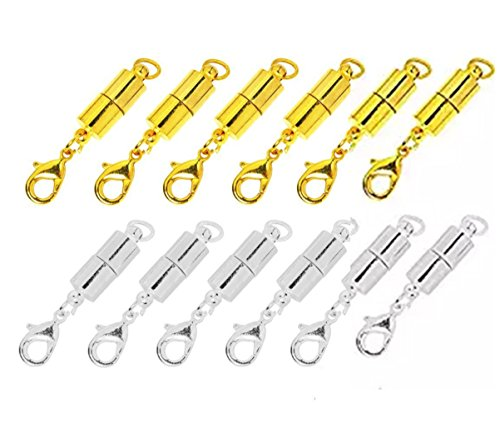 (Sparik Enjoy Pack of 12 pcs Gold Color and Silver Stainless steel Color Tone Lobster Clasp for Jewelry Necklace Bracelet (12 pcs Tone Magnetic))