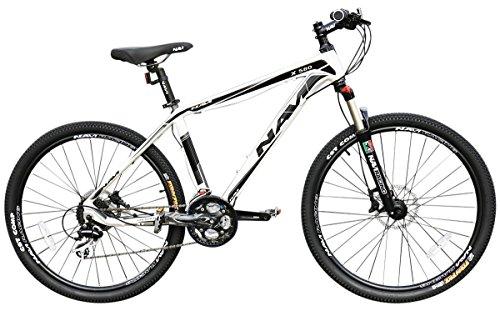 NAVI X580 26-Inch Wheel Hardtail Shimano Acera 24-Speed Mountain Bike, White/Grey, 17 inch / One Size
