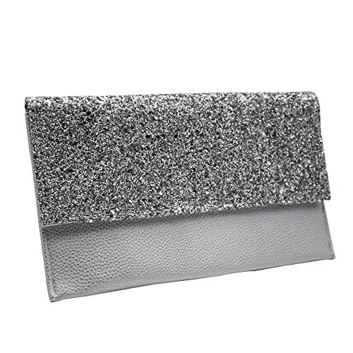 Women Silver Evening Envelope Handbag Purse Black Leather Faux Oversize Flat Clutch Cckuu Bag RwHUdSCqq