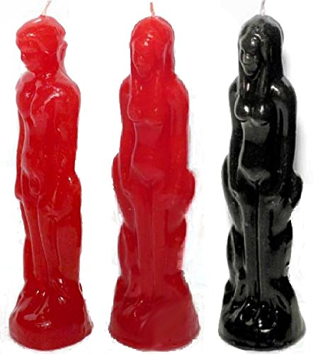 Clarity & Muse 7 Inch Ritual Figurine Candles Bundle for Breakup / stay with me spell / Love Ritual /Fall in LUST with Me Spell (1 x Red Male, 1 x Red Female, 1 x Black Female)