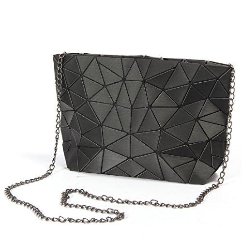 HotOne Fashion Geometric Metal Chain Shoulder Bag PU leather Women purse Handbag (Metallic Black) (Metallic Purse Handbag)