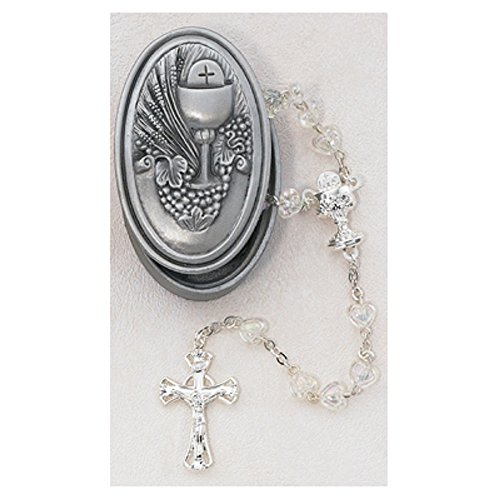 Crystal Heart Rosary with Oval Pewter Communion Box
