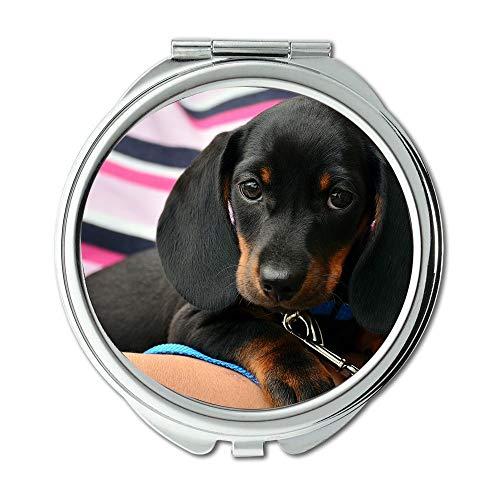 Yanteng Mirror,Travel Mirror,Dachshund Puppy Young Animal Animal Portrait Dog,Pocket Mirror,Portable Mirror -