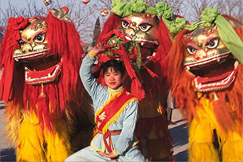Girl Playing Lion Dance for Chinese New Year, Beijing, China by Keren Su/Danita Delimont Laminated Art Print, 39 x 26 inches