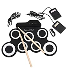Electronic Drum Sets Silicon Foldable Drum Pad Kit Built in Speaker with Sticks, Foot Pedals and Power Supply for Practice Starters Kids