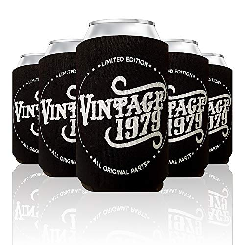 Vintage 1979 Limited Edition 40th Birthday Gift Can Coolers Party Favor for Men and Women, Black, 48 Pack]()