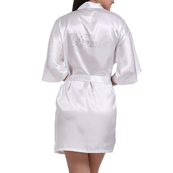 WEIMEITE Rhinestones Mujeres Kimono Novia de la Boda Robes Sexy Mini Camisón Camisón Vestido de Baño: Amazon.es: Ropa y accesorios