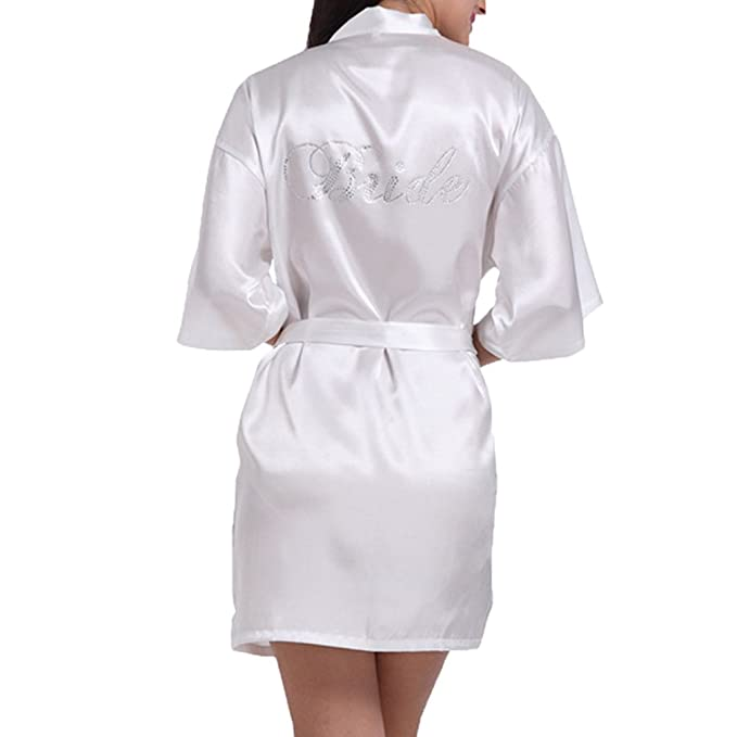 Hibote Robe Novia de la Boda de Las Mujers Ropa de Dormir Ropa de Dormir Blanco