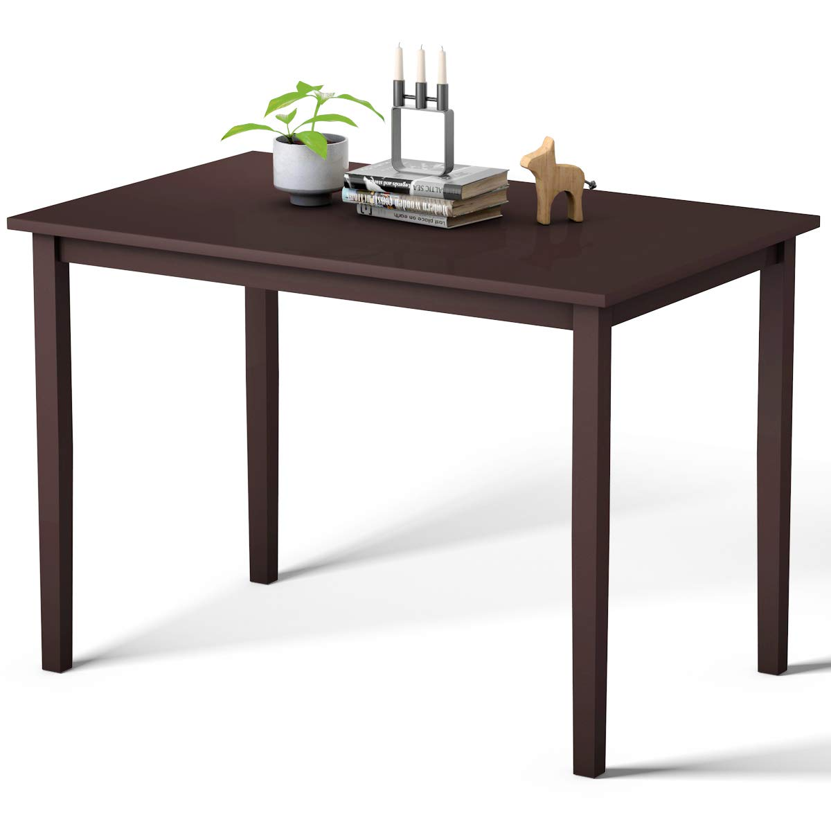 Giantex Dining Table Modern Rectangular Computer Desk Table with Wood Legs Strong Kitchen Furniture Writing Desk Table, Espresso