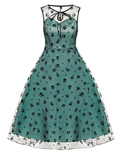 cooshional Vestido de Cóctel Fiesta Elegante para Mujer Estilo Retro Vintage Malla Encaje Verde Claro