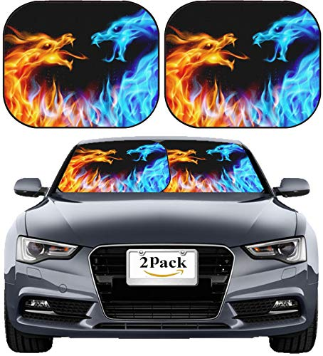MSD Car Sun Shade Windshield Sunshade Universal Fit 2 Pack, Block Sun Glare, UV and Heat, Protect Car Interior, Image ID: 10549211 llec Abstract Blue and red Fiery Dragons Illustration ()