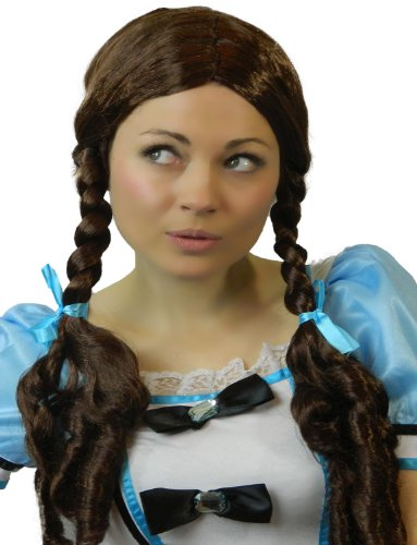 Yummy Bee Womens Costume Wig Dorothy Long Brown Plaits Schoolgirl]()