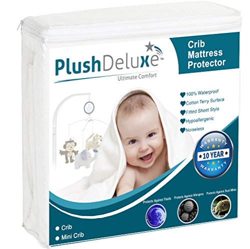 - Crib Size Premium 100% Waterproof Mattress Protector Hypoallergenic, Vinyl Free, Breathable Soft Cotton Terry Surface - 10 Year Warranty from PlushDeluxe