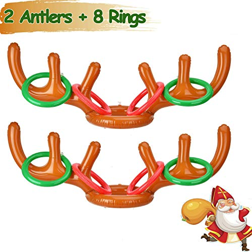 2 Pack Christmas Party Game Antler Ring Toss Game Inflatable Reindeer Antler Ring Toss Game for Christmas Party Christmas Toss Game Dress Up Toys for Kids Christmas Gifts (Christmas Best Party Games Family)